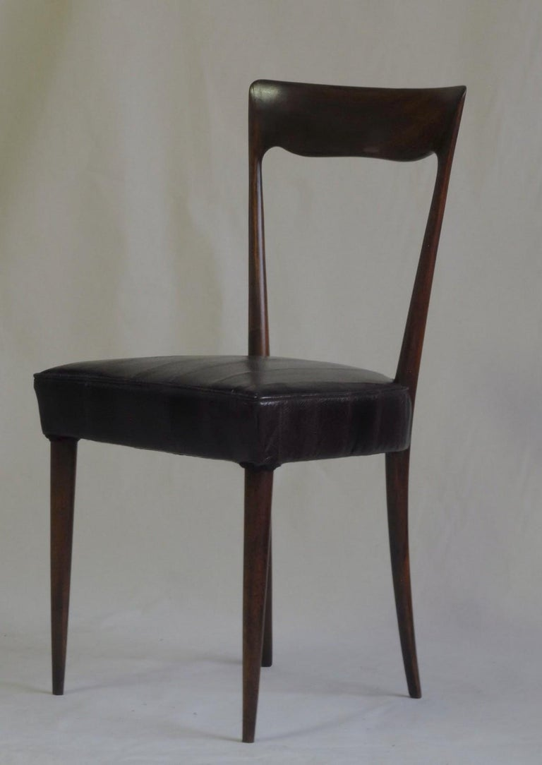 Silvio Cavatorta Four Dining Chairs, Fully Restored, Mahogany and Snake Leather For Sale 7