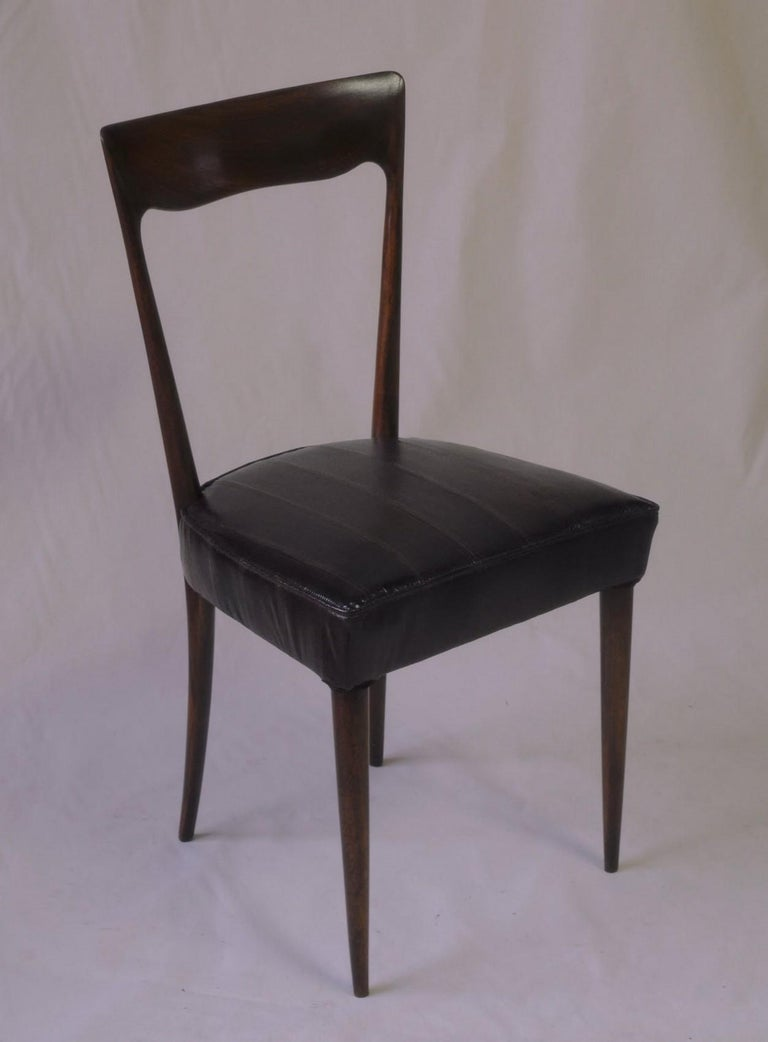 Silvio Cavatorta Four Dining Chairs, Fully Restored, Mahogany and Snake Leather For Sale 13