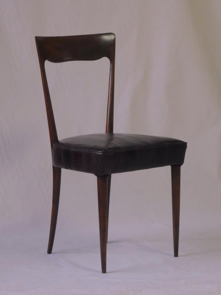 Silvio Cavatorta Four Dining Chairs, Fully Restored, Mahogany and Snake Leather For Sale 14