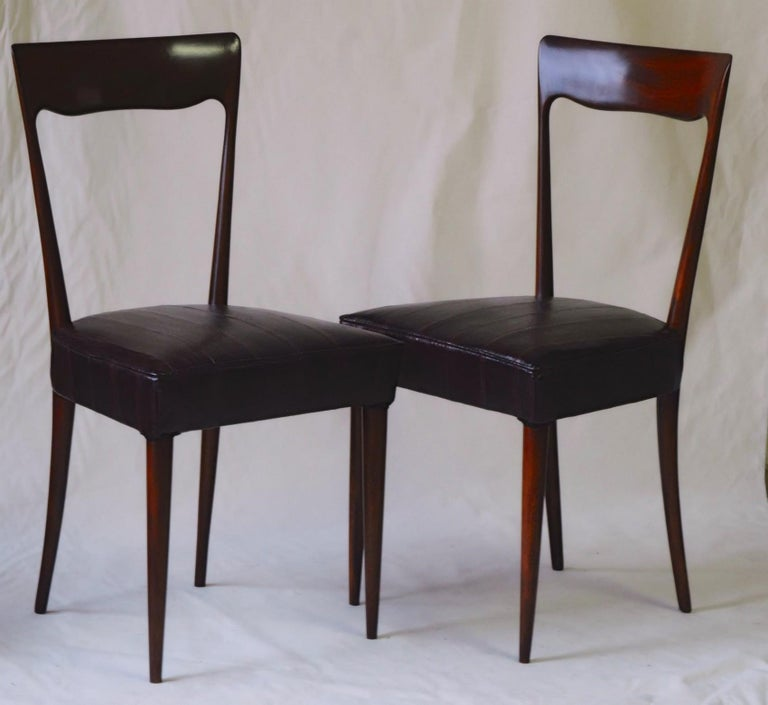 Mid-Century Modern Silvio Cavatorta Four Dining Chairs, Fully Restored, Mahogany and Snake Leather For Sale