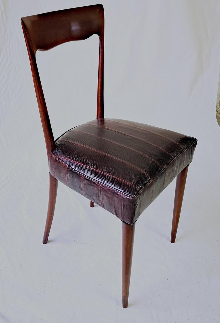 Italian Silvio Cavatorta Four Dining Chairs, Fully Restored, Mahogany and Snake Leather For Sale