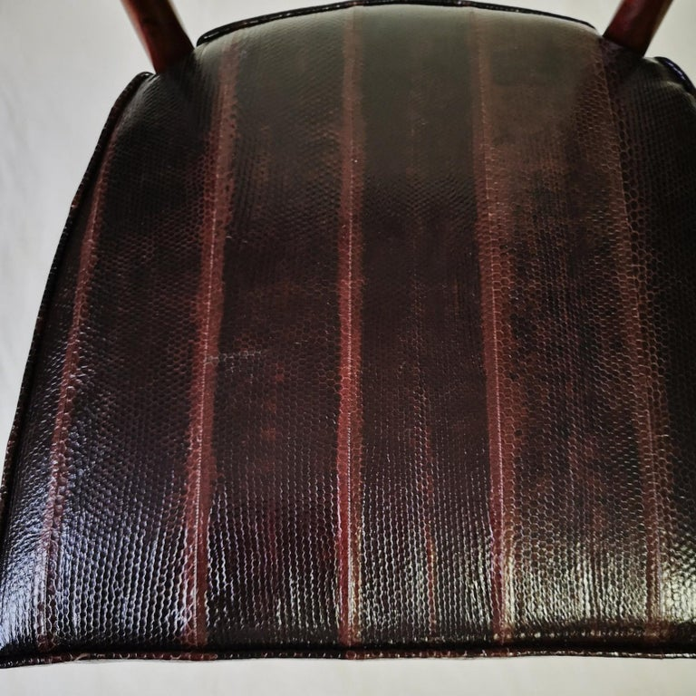20th Century Silvio Cavatorta Four Dining Chairs, Fully Restored, Mahogany and Snake Leather For Sale