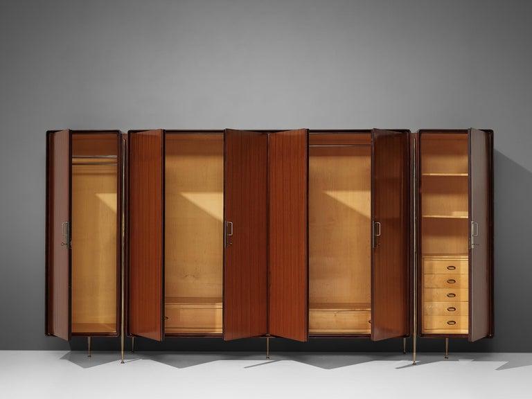 20th Century Silvio Cavatorta Large Wardrobe in Mahogany For Sale