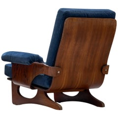 Silvio Cavatorta Lounge Chair in Blue Velvet