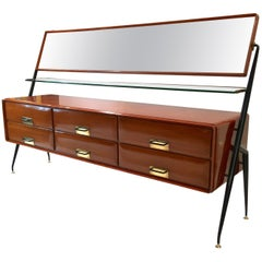 Silvio Cavatorta Mahogany Cabinet Mounted with Tilting Mirror