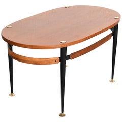 Silvio Cavatorta Midcentury Iron and Teak Wood Oval Italian Coffee Table, 1950s