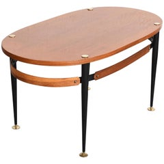 Silvio Cavatorta Midcentury Iron and Teak Wood Oval Italian Coffee Table, 1950s