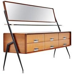 Silvio Cavatorta Mirror Drawer Cabinet, Italy, 1958