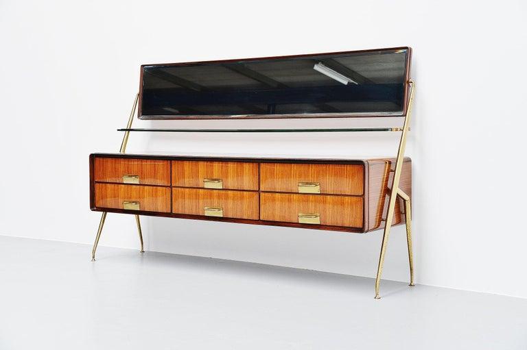 Mid-Century Modern Silvio Cavatorta Mirror Sideboard, Italy, 1958 For Sale