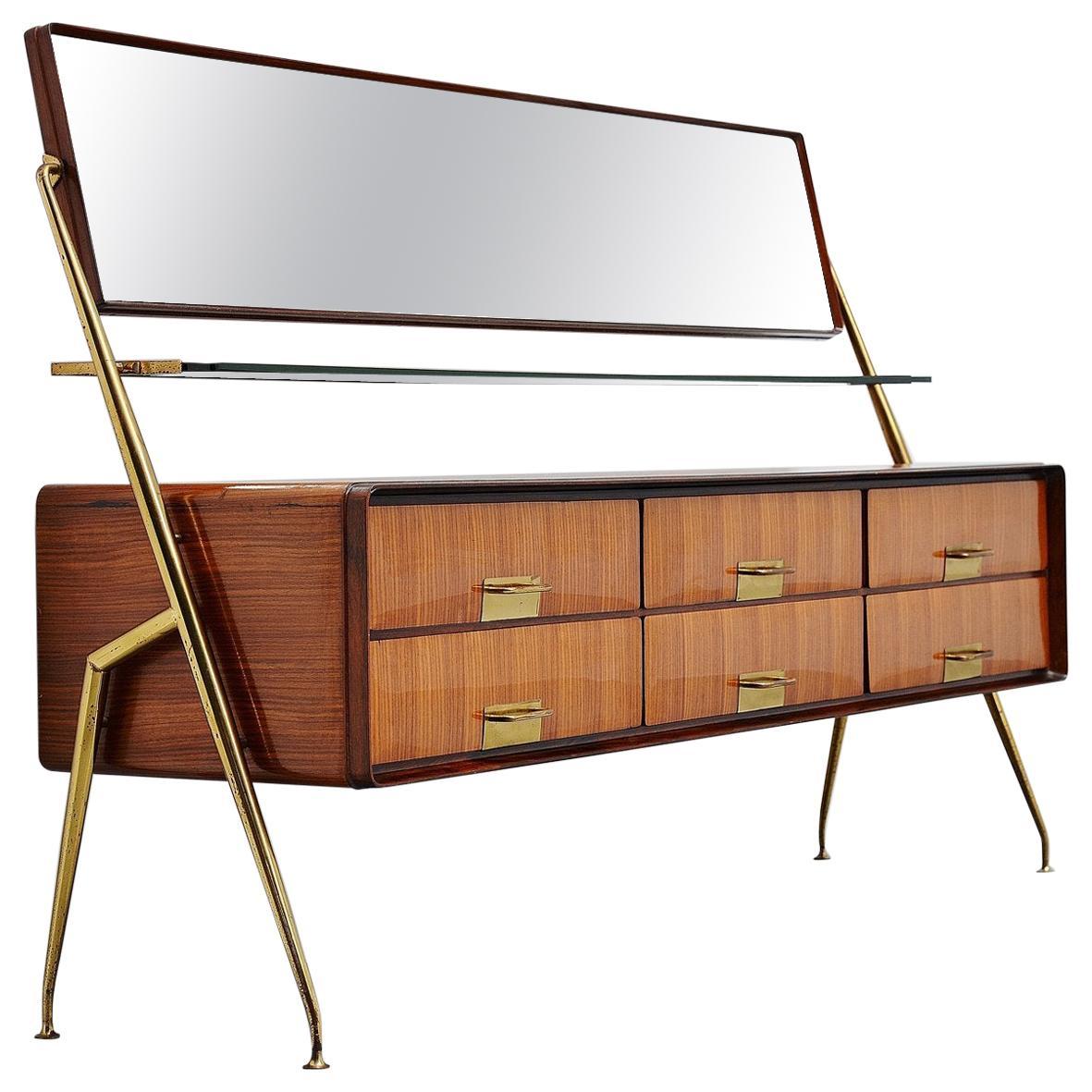 Silvio Cavatorta Mirror Sideboard, Italy, 1958