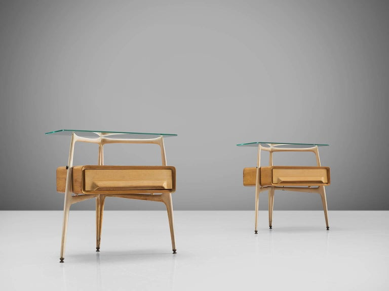 Mid-Century Modern Silvio Cavatorta Pair of Side Tables, circa 1955 For Sale