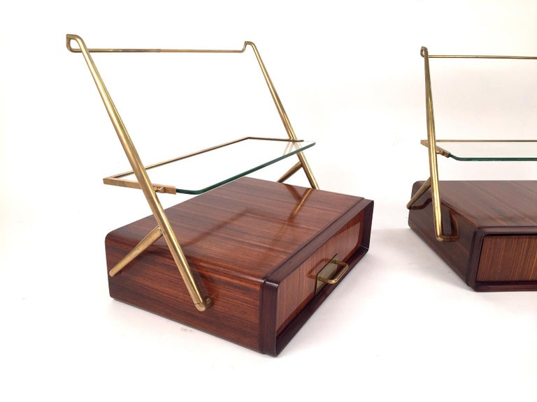 Mid-Century Modern Silvio Cavatorta Pair of Wall-Mounted Nightstands, 1955 For Sale