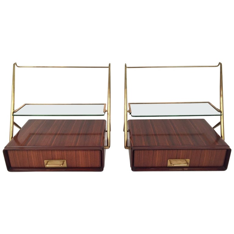 Silvio Cavatorta Pair of Wall-Mounted Nightstands, 1955 For Sale