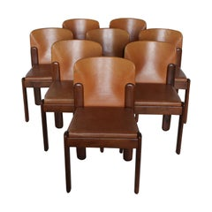 Silvio Coppola for Bernini Ten Chairs in Light Cognac Leather, Italy, 1971