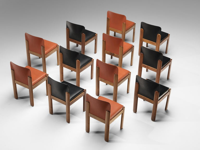 Silvio Coppola for Bernini, 12 dining chairs model 330, red and black leather, stained beech, Italy, 1960s  Wonderful set of 12 dining chairs by Italian designer Silvio Coppola. These aesthetically well balanced chairs strongly convince with the