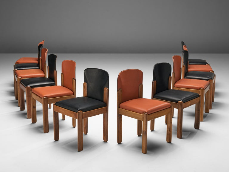 Mid-20th Century Silvio Coppola for Bernini Set of 12 Dining Chairs in Red and Black Leather For Sale