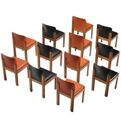 Silvio Coppola for Bernini Set of 12 Dining Chairs in Red and Black Leather