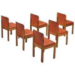 Silvio Coppola for Bernini Set of 6 Dining Chairs in Red Leather