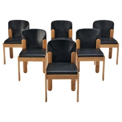 Silvio Coppola for Bernini Set of Six Dining Chairs in Black Leather
