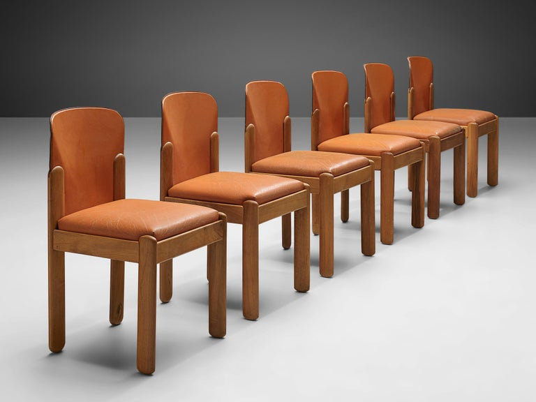 Mid-Century Modern Silvio Coppola Set of Six Dining Chairs in Cognac Leather