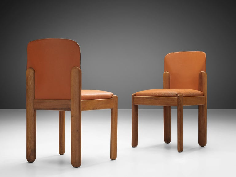 Italian Silvio Coppola Set of Six Dining Chairs in Cognac Leather
