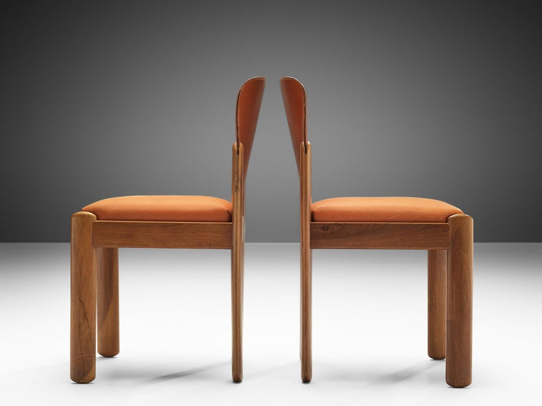 Silvio Coppola Set of Six Dining Chairs in Cognac Leather In Good Condition In Waalwijk, NL
