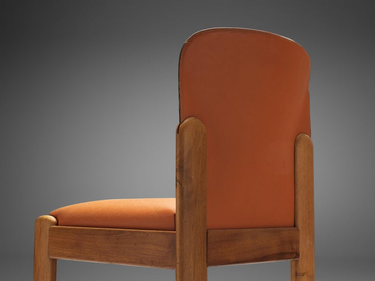 Mid-20th Century Silvio Coppola Set of Six Dining Chairs in Cognac Leather