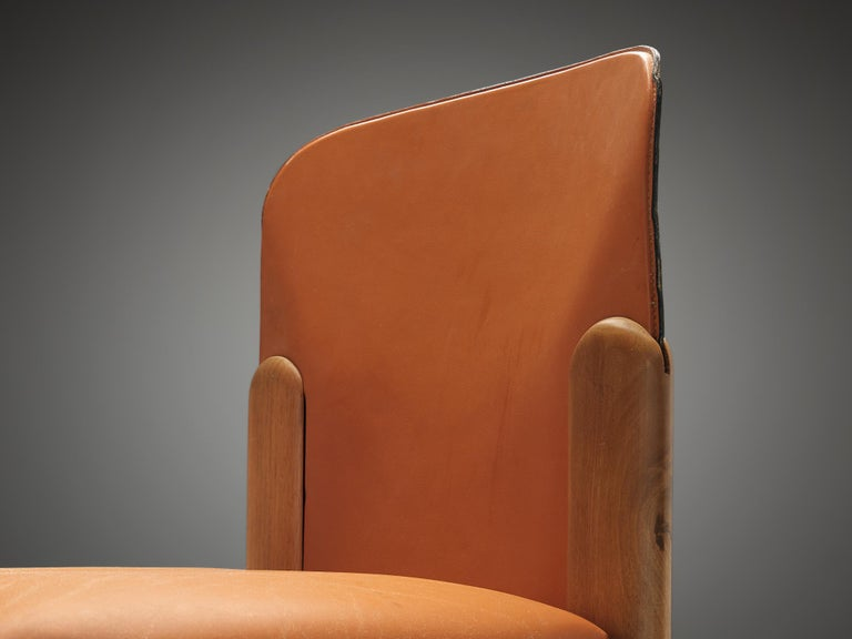 Silvio Coppola Set of Six Dining Chairs in Cognac Leather 1