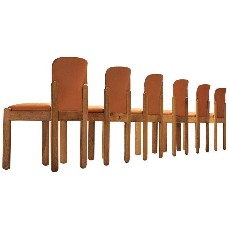 Silvio Coppola Set of Six Dining Chairs in Cognac Leather