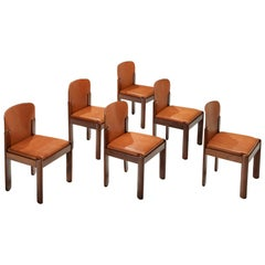Silvio Coppola Set of Six Dining Chairs in Walnut and Cognac Leather