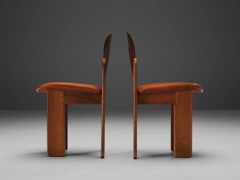 Mid-Century Modern Silvio Coppola Set of Six Dining Chairs Model 330 in Walnut