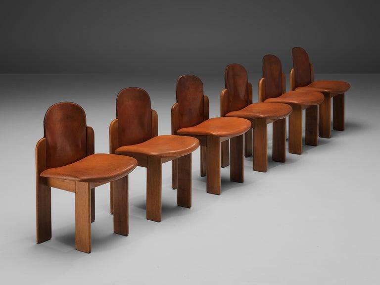 Italian Silvio Coppola Set of Six Dining Chairs Model 330 in Walnut