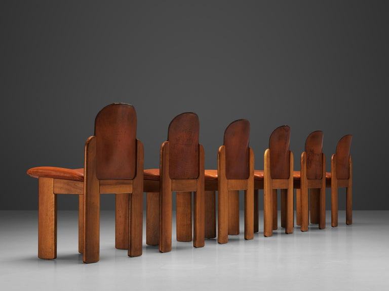 Mid-20th Century Silvio Coppola Set of Six Dining Chairs Model 330 in Walnut