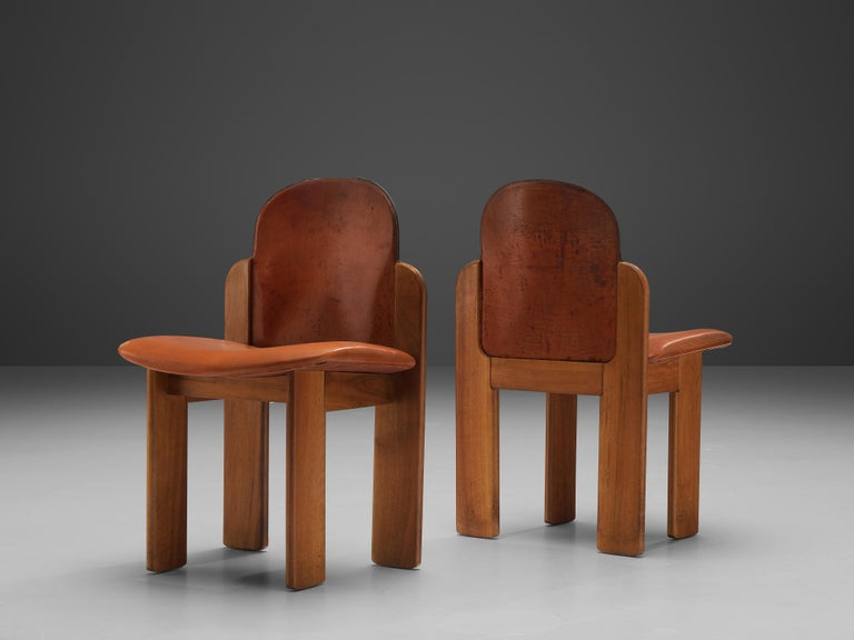Leather Silvio Coppola Set of Six Dining Chairs Model 330 in Walnut