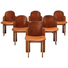 Silvio Coppola Set of Six Dining Chairs Model 330 in Walnut