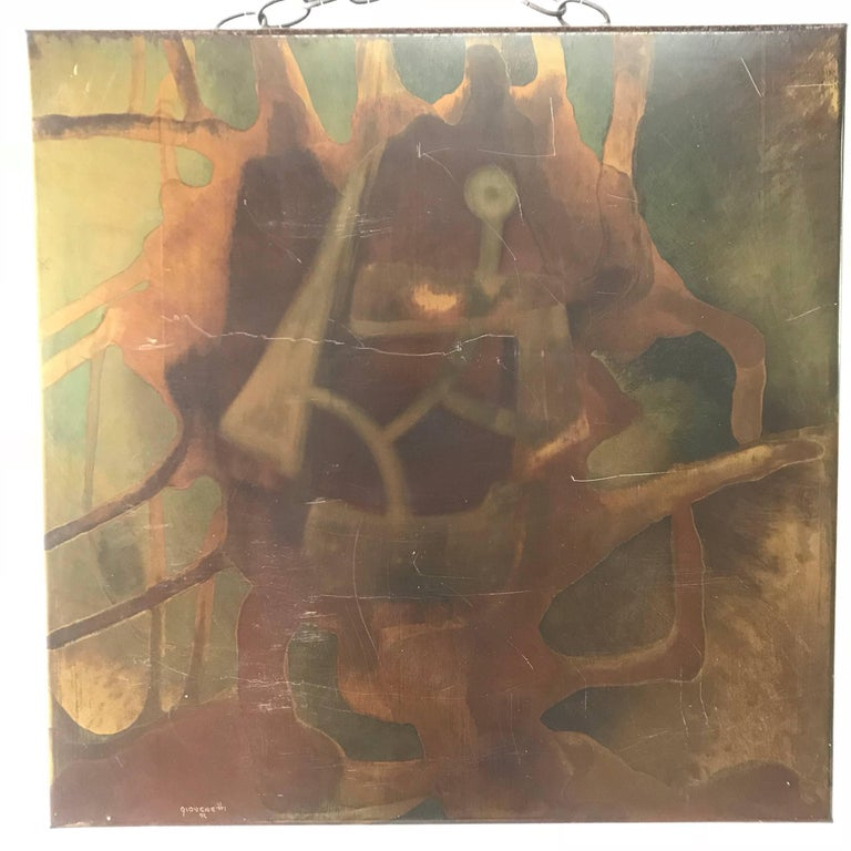 Abstract painting rendered in acid etched steel by artist Silvio Giovenetti, 1972 Signed.