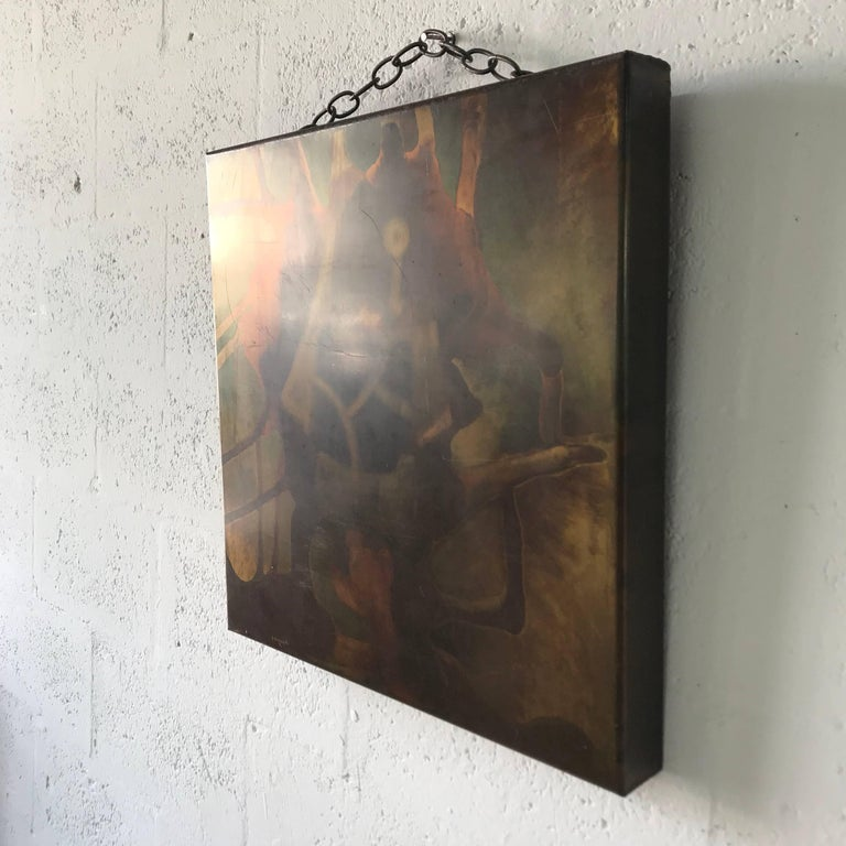 American Silvio Giovenetti Acid Atched Abstract Painting on Steel, 1972 For Sale