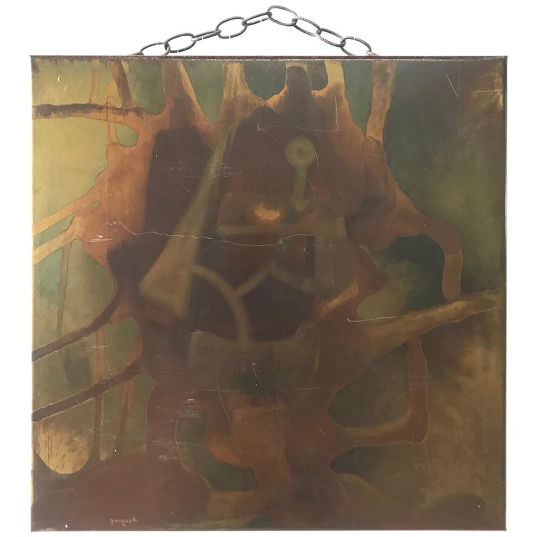 Silvio Giovenetti Acid Atched Abstract Painting on Steel, 1972 For Sale