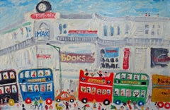 A Day In Town: Contemporary Outsider Art Oil Painting