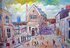 Evening In Marzion: Contemporary Outsider Art Oil Painting