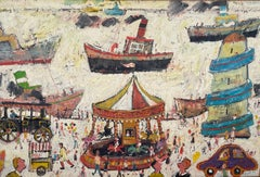 """""""Fun Fair On The Harbour Wall"""". Figurative Oil Painting"""