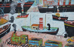 """""""Liverpool Docks""""  Contemporary Outsider Art Oil painting"""