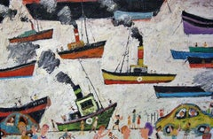 Newlyn Harbour Cornwall: Contemporary Outsider Art Oil painting