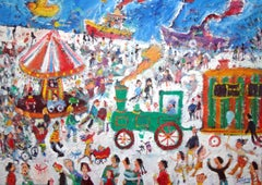 Northern Fair: Contemporary Naive School Oil Painting