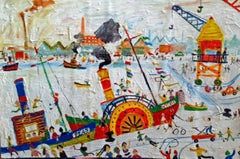 Open Day At The Docks: Contemporary Naive School Oil painting