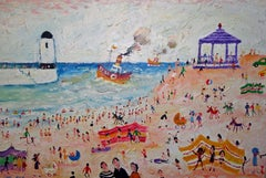 """St Ives"",  Contemporary British Naive Art, Oil painting"