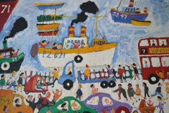 The Wharf St Ives: Contemporary Outsider Art Oil Painting