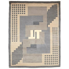 Simil Da Silva, Art Deco, Hand Knotted Wool Large Rug