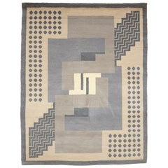 Simil Da Silva, Art Deco, Hand-Knotted Wool Large Rug