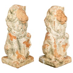 Similar Pair French Terracotta Lions